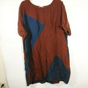 BUYKUD Loose Linen Coloblock Lagenlook Dress SZ M